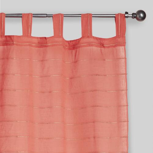 Rose Striped Sahaj Jute Tab Top Curtains Set of 2