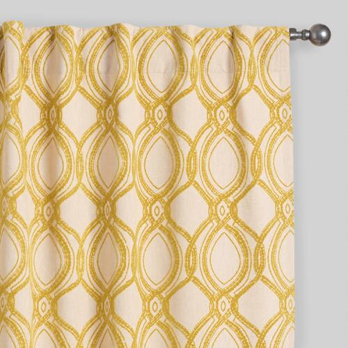 Citron Ventura Flocked Concealed Tab Top Curtains Set of 2