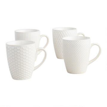 White Textured Stoneware Mugs Set of 4
