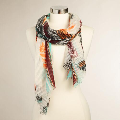 Multicolor Feather Scarf