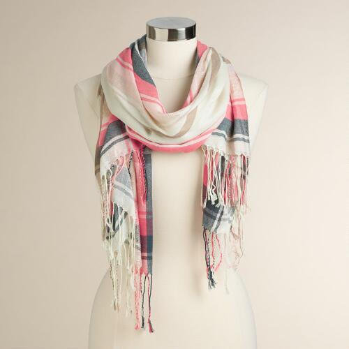 Metallic Ivory, Coral and Gold Plaid Scarf
