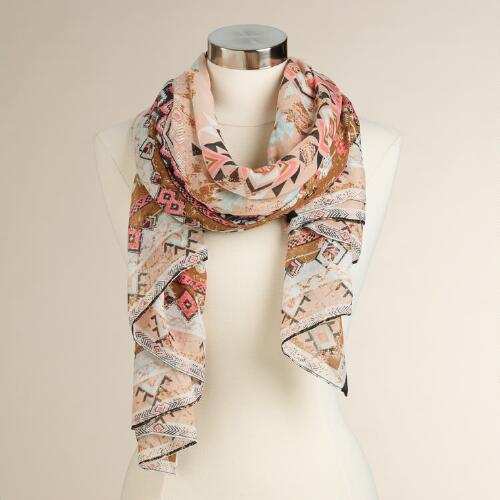 Coral and Brown Tribal Print Scarf