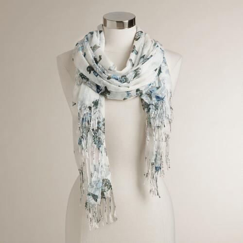 White, Gray and Blue Floral Scarf