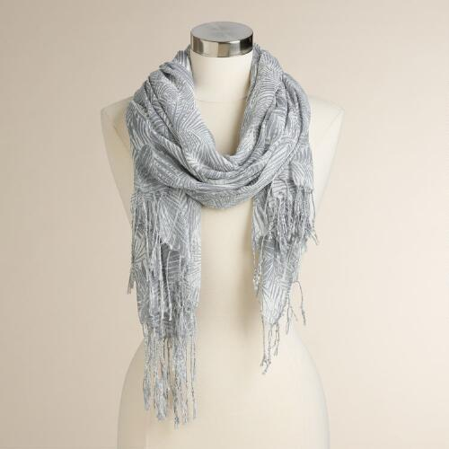 White and Gray Palm Leaf Scarf