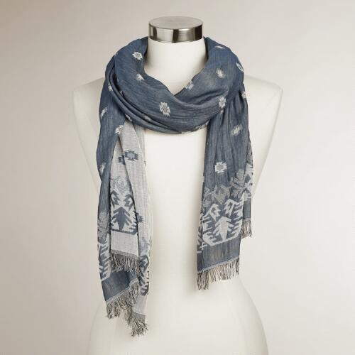 Navy and White Jacquard Scarf