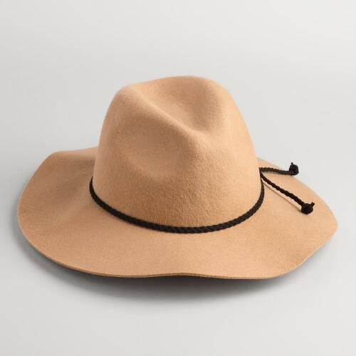 Tan Fedora with Leather Braid