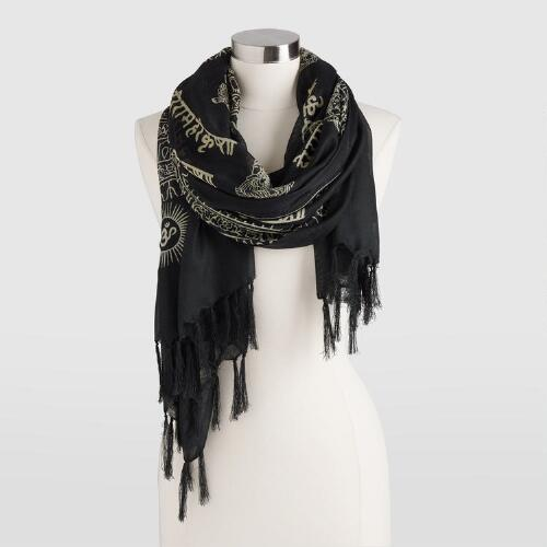 Black and Taupe Prayer Shawl with Tassels