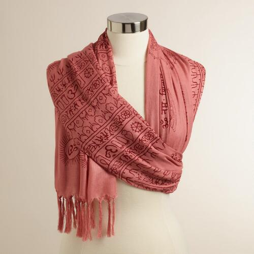 Rust Prayer Shawl with Tassels