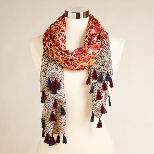 Rust and Indigo Paisley Scarf