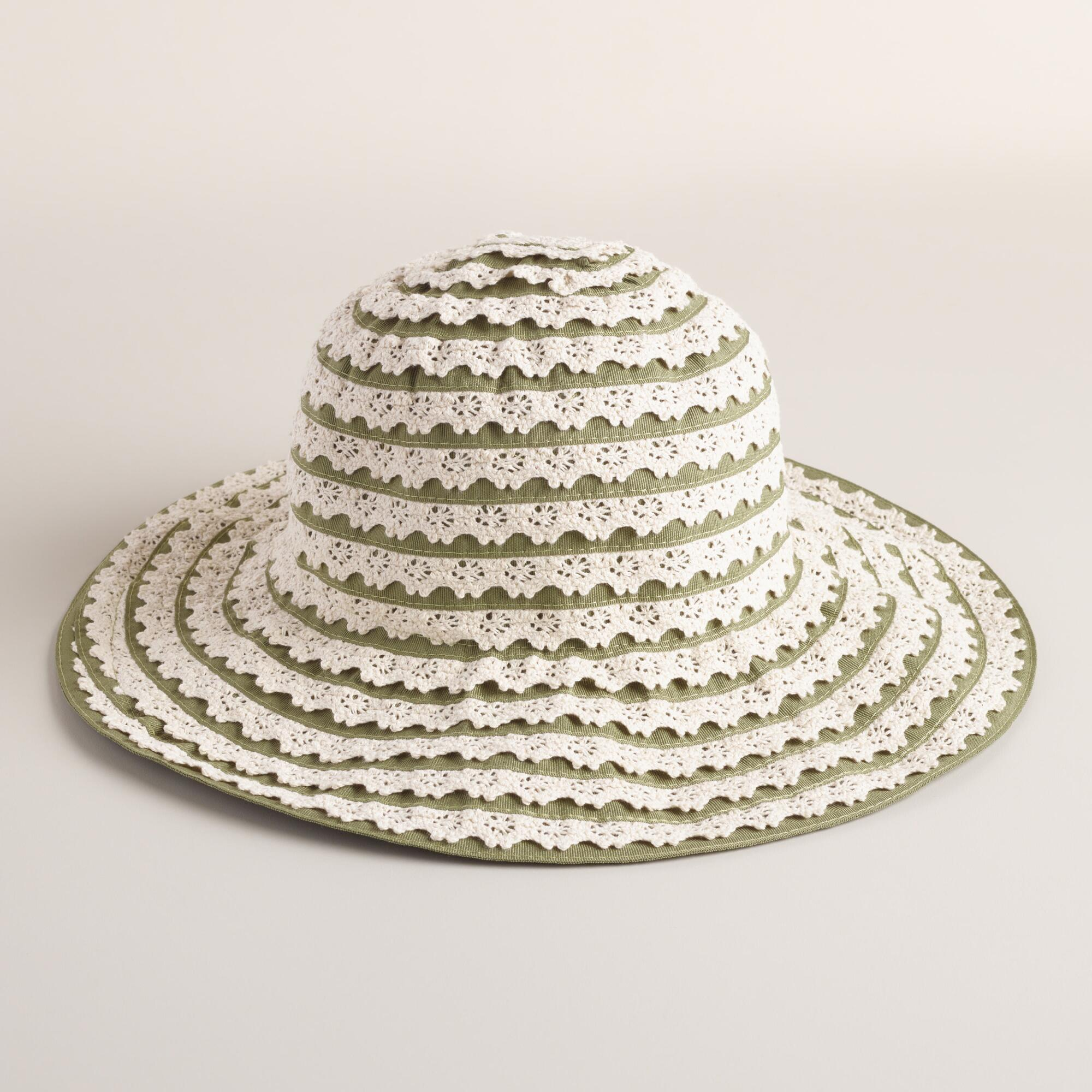 Green and Ivory Crochet Ribbon Hat World Market