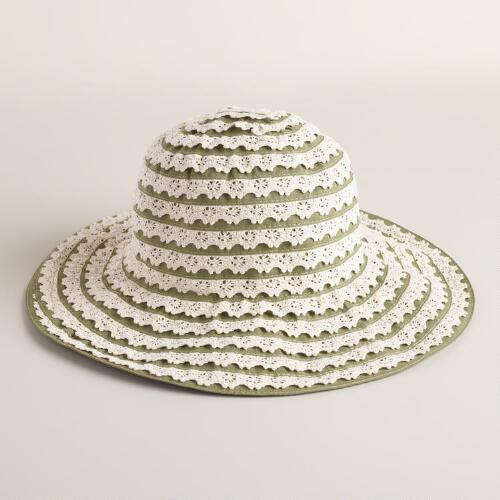 Green and Ivory Crochet Ribbon Hat