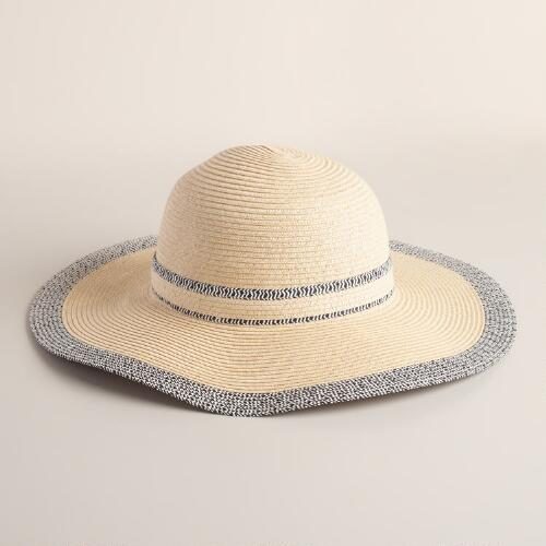 Beige and Black Sunhat with Marled Border