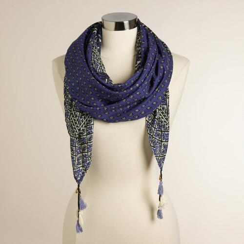 Square Purple Scarf with Tassels