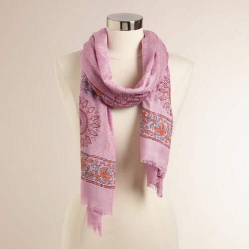 Pink and Coral Floral Scarf with Tassels