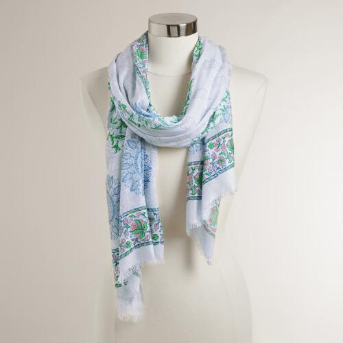 Blue and Mint Floral Scarf with Tassels