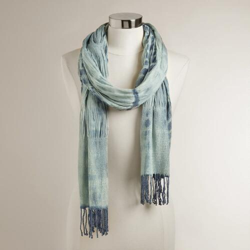 Blue Ruched Tie Dye Scarf
