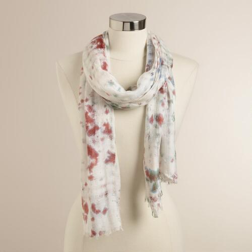 Pink and Blue Tie Dye Scarf