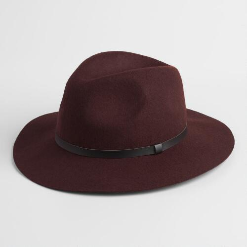 Brown Wool Fedora with Leather Band