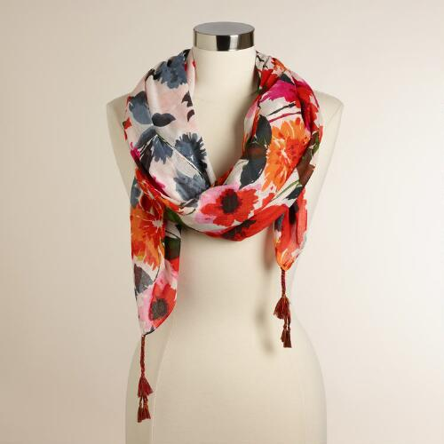 Warm Floral Scarf with Tassels