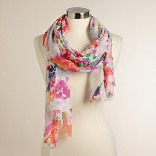 Lavender Pink and Orange Floral Scarf