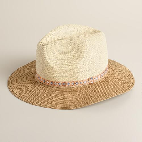 Two Tone Panama Hat with Jacquard Band