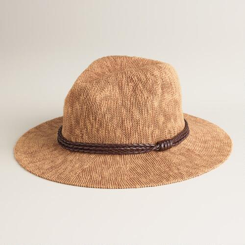 Tan Woven Fedora with Leather Band