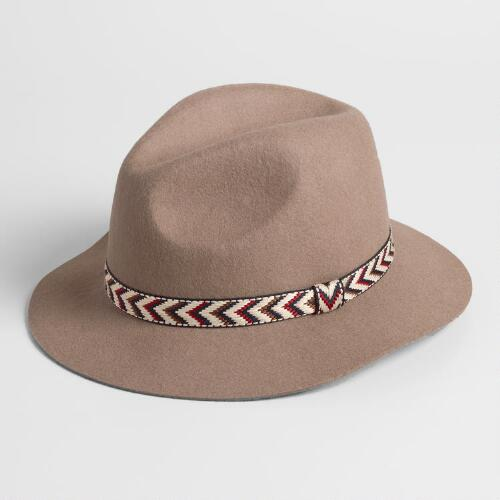 Taupe Wool Fedora with Chevron Band