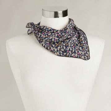 Small Square Navy Paisley Scarf