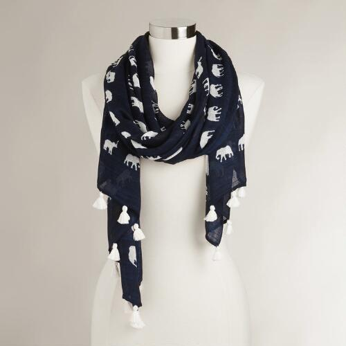 Navy Elephant Scarf with Tassels