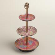 Warm Rug Print Enameled Three Tier Jewelry Stand