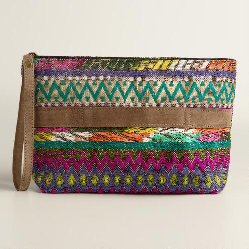 Large Multicolor Woven Clutch