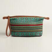 Green Stripe Wristlet