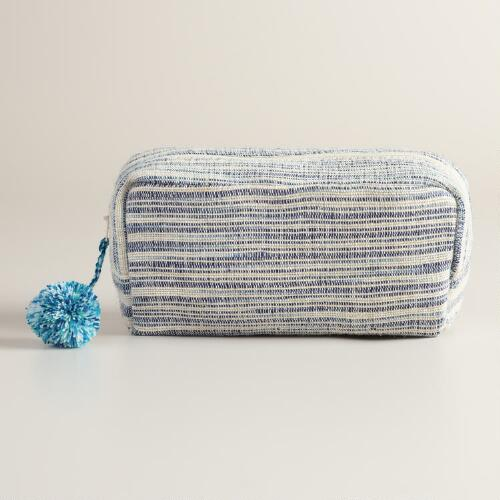 Blue and Ivory Stripe Pouch