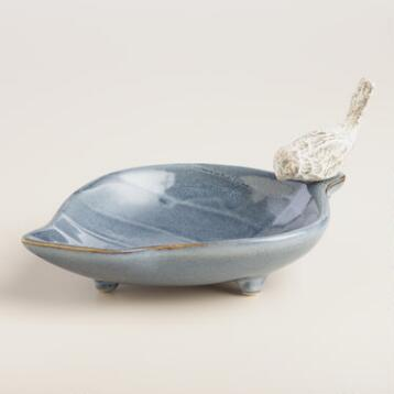 Blue Leaf Jewelry Holder with Bird