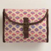 Cream Multicolor Tri Fold Cosmetic Travel Pouch