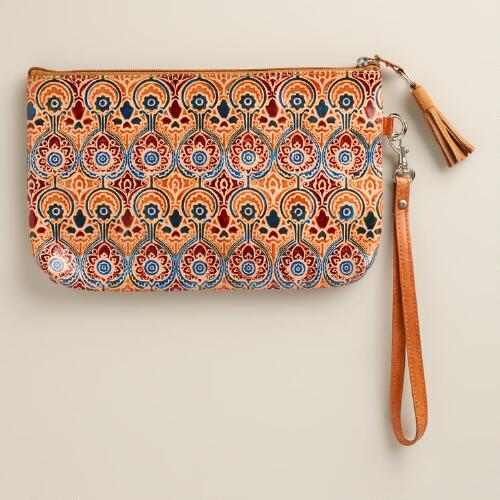 Small Blue and Tan Leather Clutch