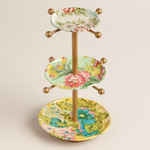 Yellow Enameled Three Tier Jewelry Stand