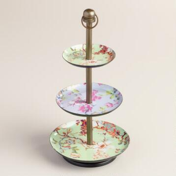 Mint Floral Enameled Three Tier Jewelry Stand
