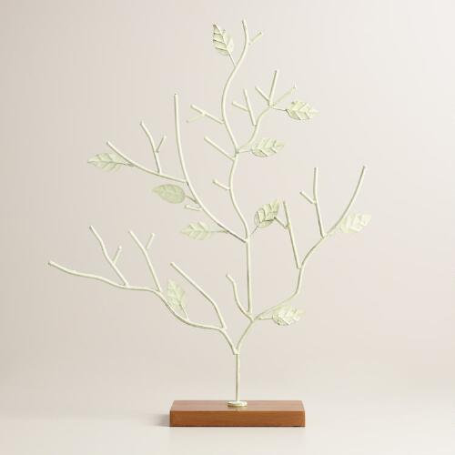 Green Jewelry Tree with Wooden Base