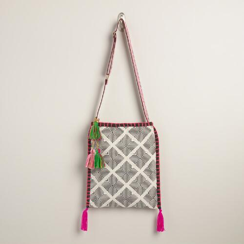 Black and White Woven Crossbody Bag