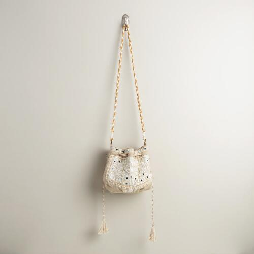 Small Ivory Mirrored Bucket Bag