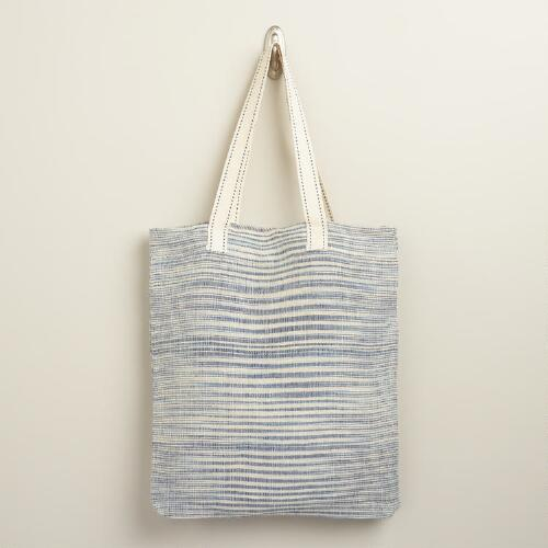 Blue and Ivory Stripe Tote Bag