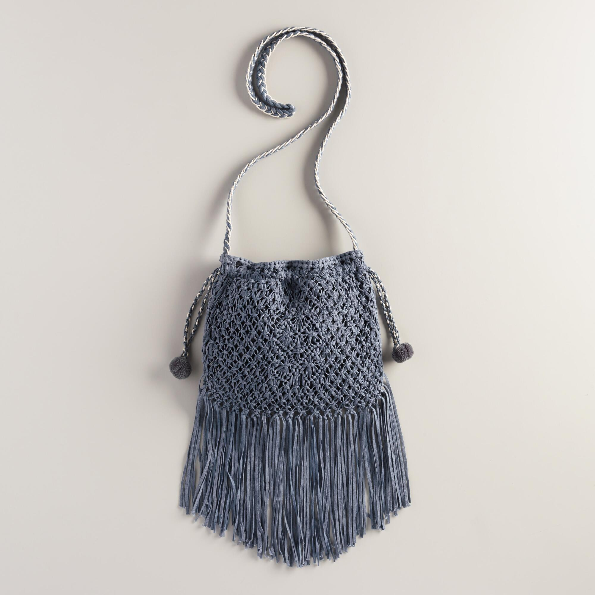 Blue Crochet Crossbody Bag with Fringe World Market