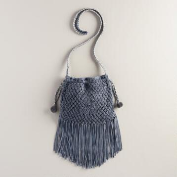 Blue Crochet Crossbody Bag with Fringe