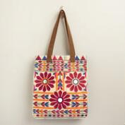 Blue Tie Dye Embroidered Tote Bag