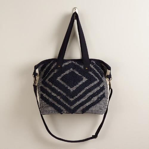 Black and Cream Woven Weekender Bag