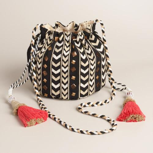 Small Black and White Bucket Bag with Tassels