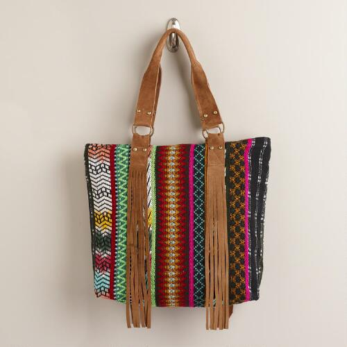 Multicolor Woven Tote Bag with Suede Fringe