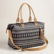 Black and Ivory Tribal Woven Weekender Bag