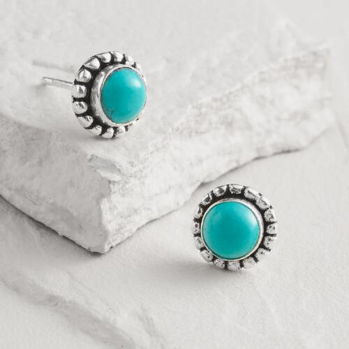Silver Round Turquoise Stud Earrings